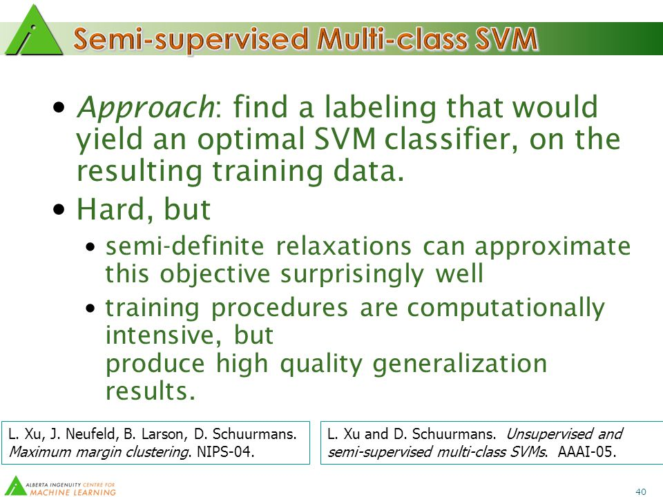 40 Approach: find a labeling that would yield an optimal SVM classifier, on the resulting training data.