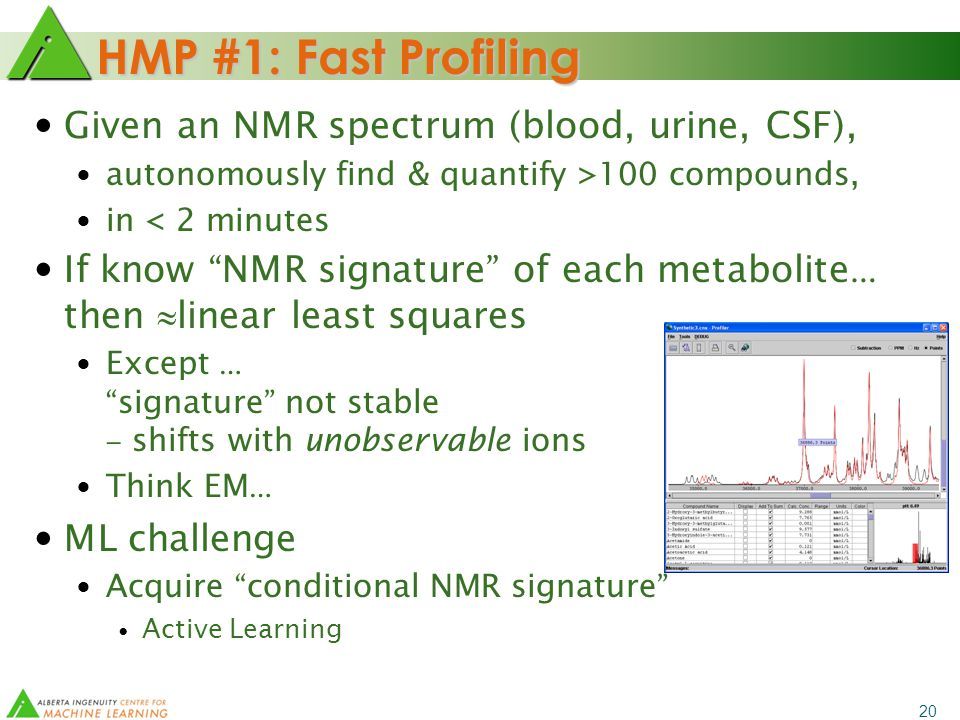 20 HMP #1: Fast Profiling Given an NMR spectrum (blood, urine, CSF), autonomously find & quantify >100 compounds, in < 2 minutes If know NMR signature of each metabolite … then  linear least squares Except … signature not stable – shifts with unobservable ions Think EM … ML challenge Acquire conditional NMR signature Active Learning