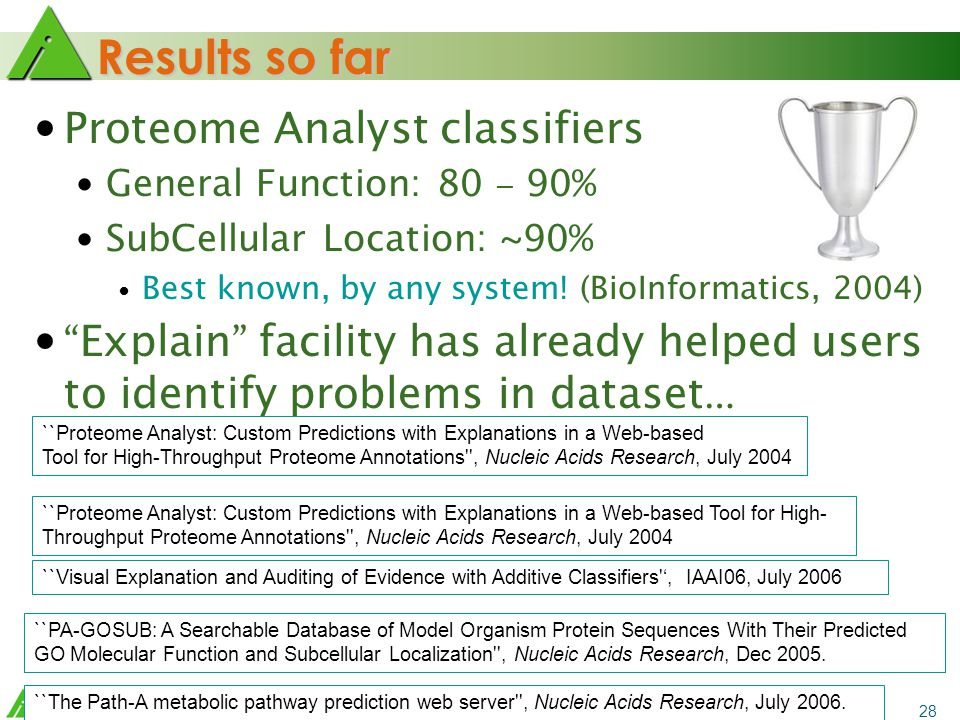 28 Results so far Proteome Analyst classifiers General Function: 80 – 90% SubCellular Location: ~90% Best known, by any system.