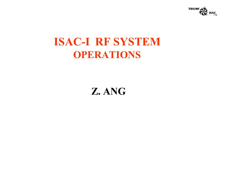 ISAC-I RF SYSTEM OPERATIONS Z. ANG
