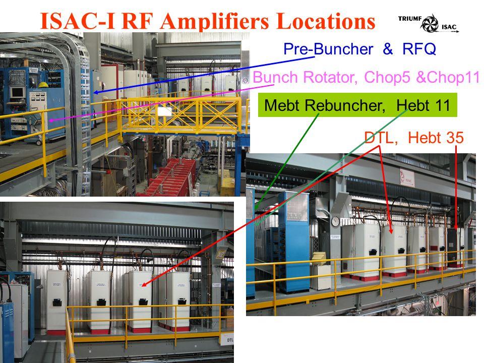 ISAC-I RF Amplifiers Locations Bunch Rotator, Chop5 &Chop11 Pre-Buncher & RFQ Mebt Rebuncher, Hebt 11 DTL, Hebt 35