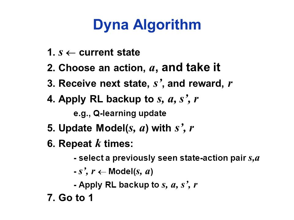 Dyna Algorithm 1. s  current state 2. Choose an action, a, and take it 3.