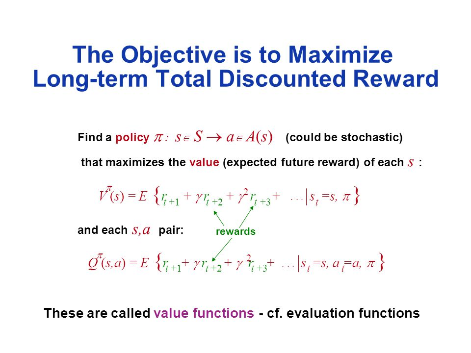 Find a policy   s   S  a  A(s) (could be stochastic) that maximizes the value (expected future reward) of each s : and each s,a pair: The Objective is to Maximize Long-term Total Discounted Reward V (s) = E { r +  r +  r + s =s,  } rewards These are called value functions - cf.
