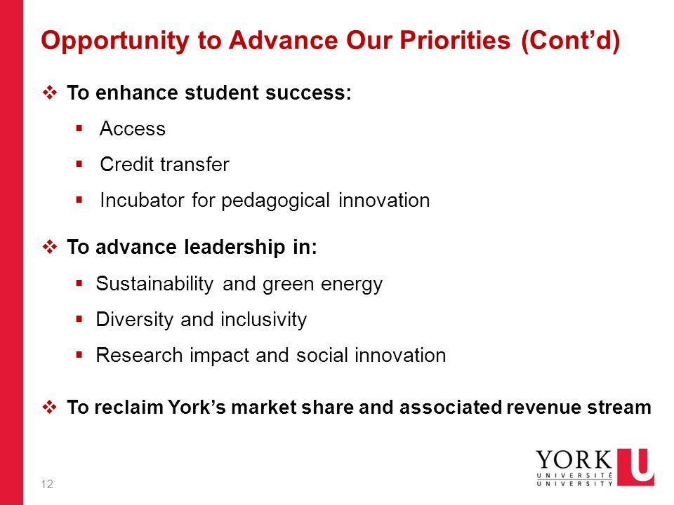 Opportunity to Advance Our Priorities (Cont'd)  To enhance student success:  Access  Credit transfer  Incubator for pedagogical innovation  To advance leadership in:  Sustainability and green energy  Diversity and inclusivity  Research impact and social innovation  To reclaim York's market share and associated revenue stream 12