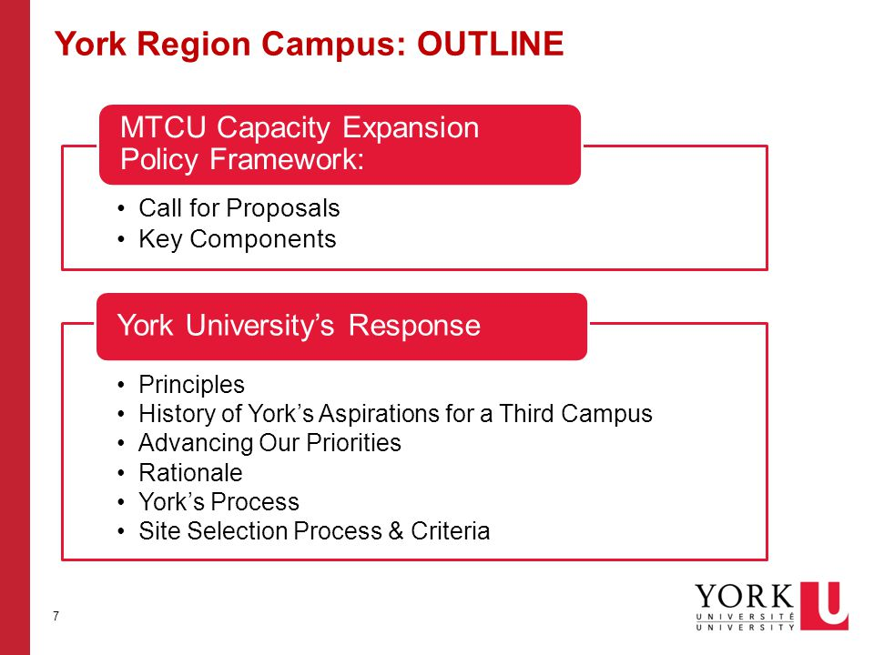 York Region Campus: OUTLINE Call for Proposals Key Components MTCU Capacity Expansion Policy Framework: Principles History of York's Aspirations for a Third Campus Advancing Our Priorities Rationale York's Process Site Selection Process & Criteria York University's Response 7