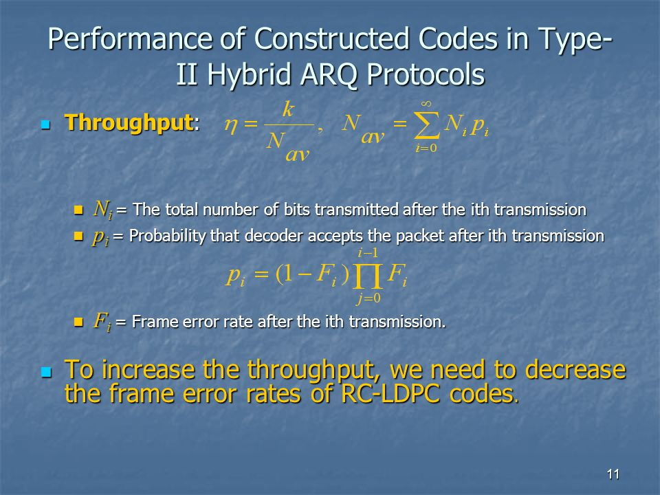 11 Performance of Constructed Codes in Type- II Hybrid ARQ Protocols Throughput: Throughput: N i = The total number of bits transmitted after the ith transmission N i = The total number of bits transmitted after the ith transmission p i = Probability that decoder accepts the packet after ith transmission p i = Probability that decoder accepts the packet after ith transmission F i = Frame error rate after the ith transmission.