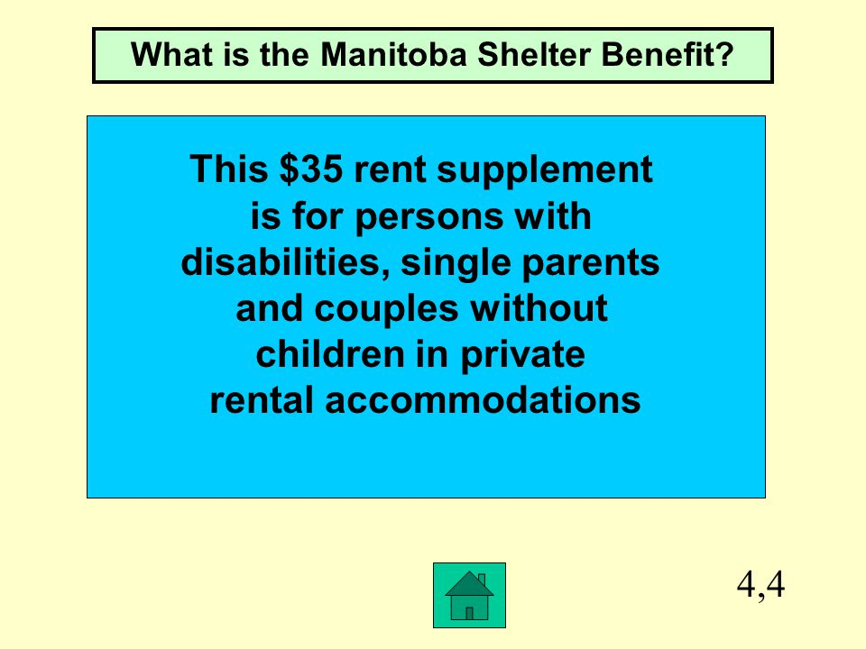4,3 This is the rent allowance for non disabled adults and couples without children when leaving EIA for employment What is $50/month