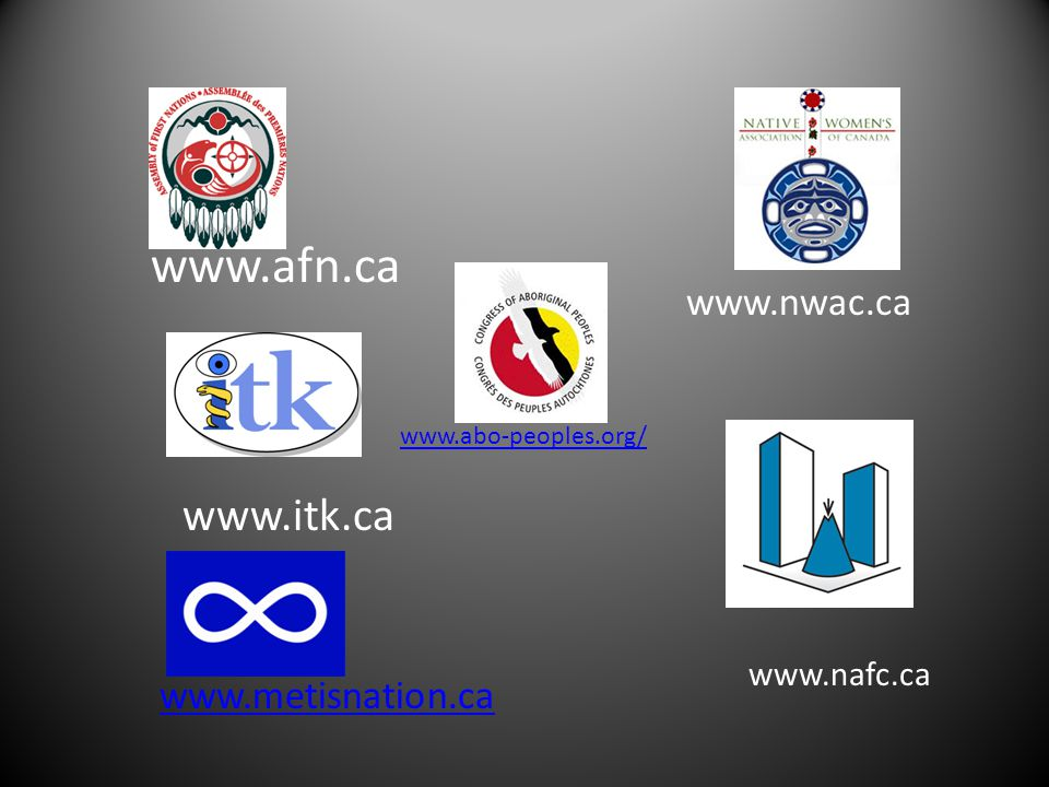 www.afn.ca www.itk.ca www.metisnation.ca www.nwac.ca www.abo-peoples.org/ www.nafc.ca