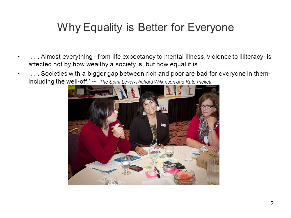 Why Equality is Better for Everyone...'Almost everything –from life expectancy to mental illness, violence to illiteracy- is affected not by how wealthy a society is, but how equal it is.'...'Societies with a bigger gap between rich and poor are bad for everyone in them- including the well-off.' ~ The Spirit Level- Richard Wilkinson and Kate Pickett 2