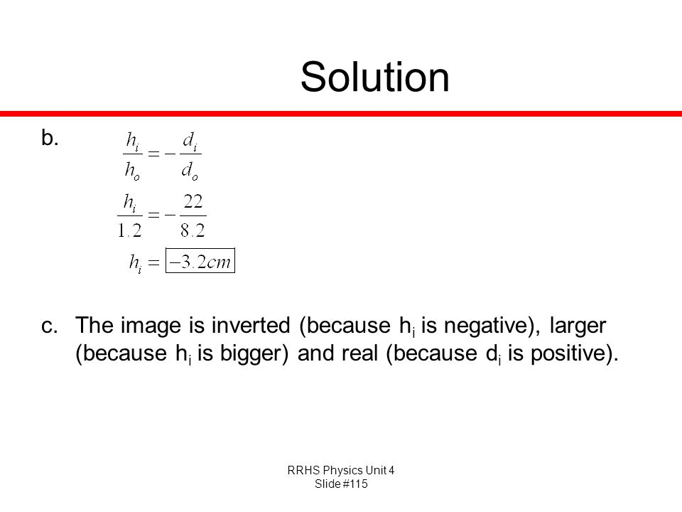 RRHS Physics Unit 4 Slide #115 Solution b.
