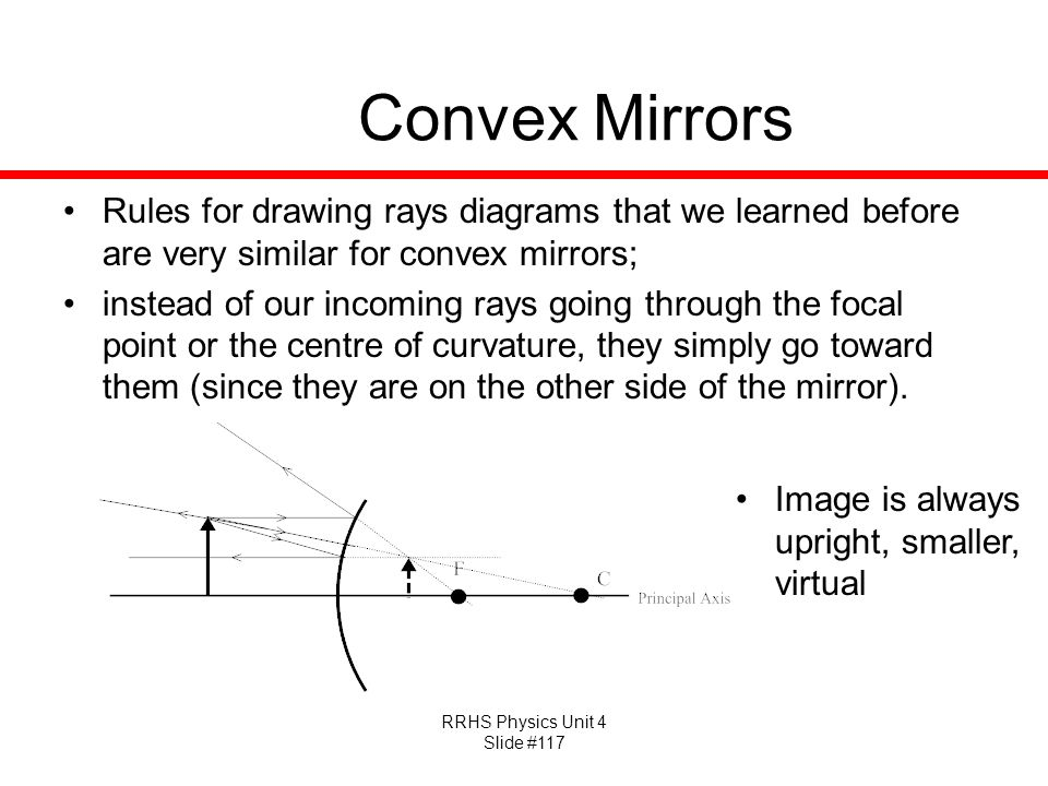 RRHS Physics Unit 4 Slide #117 Convex Mirrors Rules for drawing rays diagrams that we learned before are very similar for convex mirrors; instead of our incoming rays going through the focal point or the centre of curvature, they simply go toward them (since they are on the other side of the mirror).
