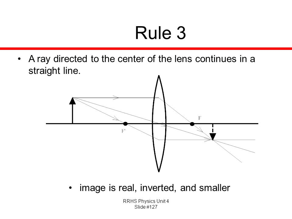 RRHS Physics Unit 4 Slide #127 Rule 3 A ray directed to the center of the lens continues in a straight line.
