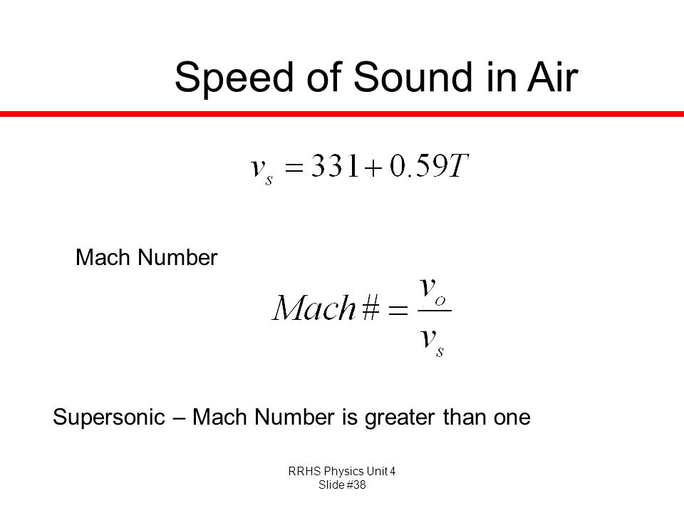 RRHS Physics Unit 4 Slide #38 Speed of Sound in Air Mach Number Supersonic – Mach Number is greater than one