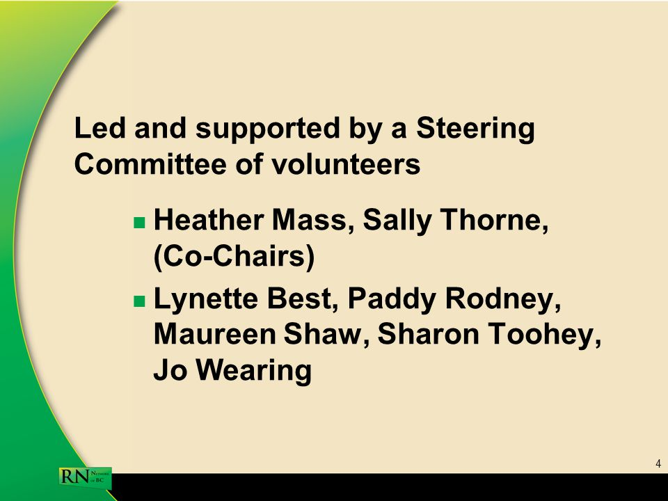 4 Led and supported by a Steering Committee of volunteers Heather Mass, Sally Thorne, (Co-Chairs) Lynette Best, Paddy Rodney, Maureen Shaw, Sharon Toohey, Jo Wearing