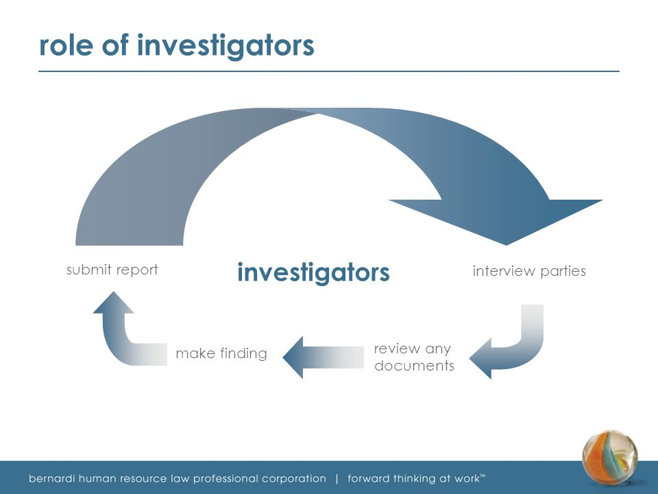 investigators submit report interview parties make finding review any documents role of investigators 7