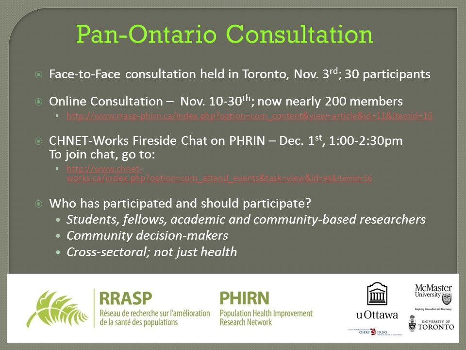 Pan-Ontario Consultation  Face-to-Face consultation held in Toronto, Nov.