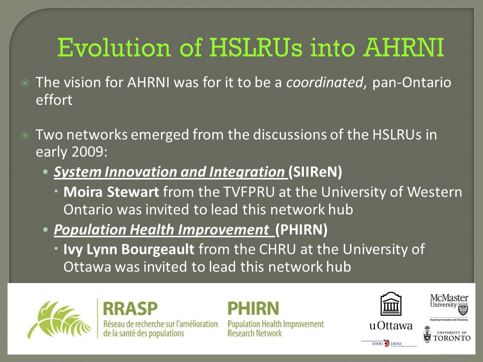 Evolution of HSLRUs into AHRNI  The vision for AHRNI was for it to be a coordinated, pan-Ontario effort  Two networks emerged from the discussions o
