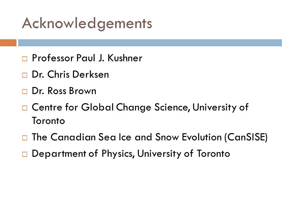 Acknowledgements  Professor Paul J.Kushner  Dr.