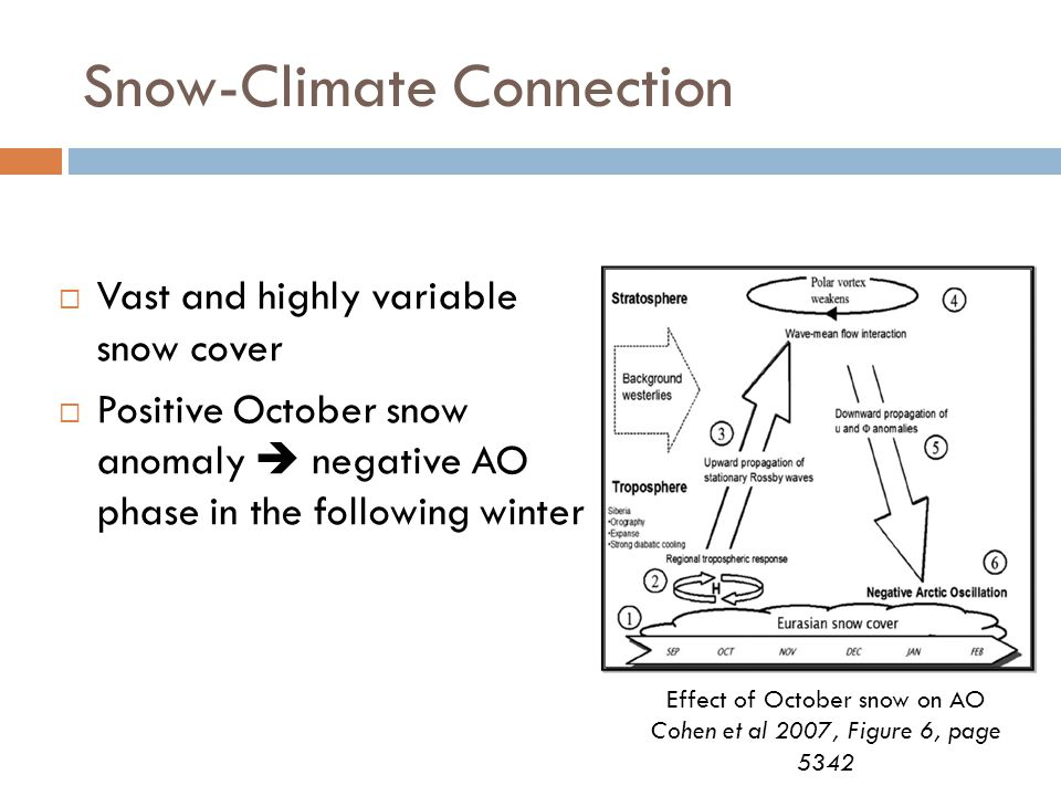 Snow-Climate Connection  Vast and highly variable snow cover  Positive October snow anomaly  negative AO phase in the following winter Effect of October snow on AO Cohen et al 2007, Figure 6, page 5342