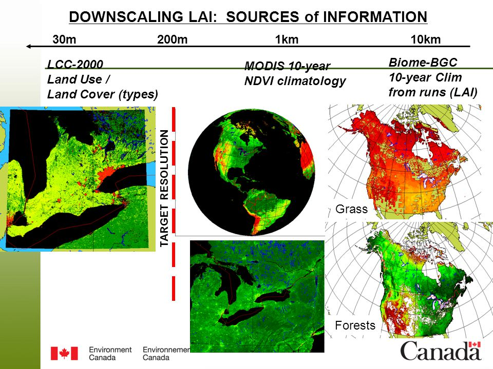 Page 8 – August 25, 2014 DOWNSCALING LAI: SOURCES of INFORMATION 30m1km10km200m TARGET RESOLUTION LCC-2000 Land Use / Land Cover (types) MODIS 10-year NDVI climatology Biome-BGC 10-year Clim from runs (LAI) Grass Forests
