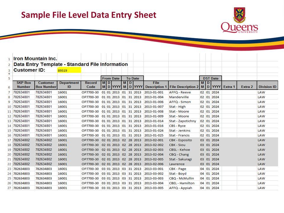 Sample File Level Data Entry Sheet