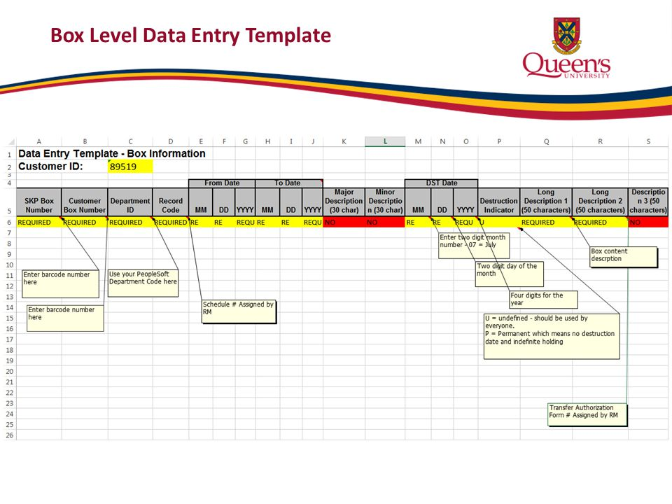 Sample Box Level Data Entry Sheet Record Code and Description 2 will be assigned by RM