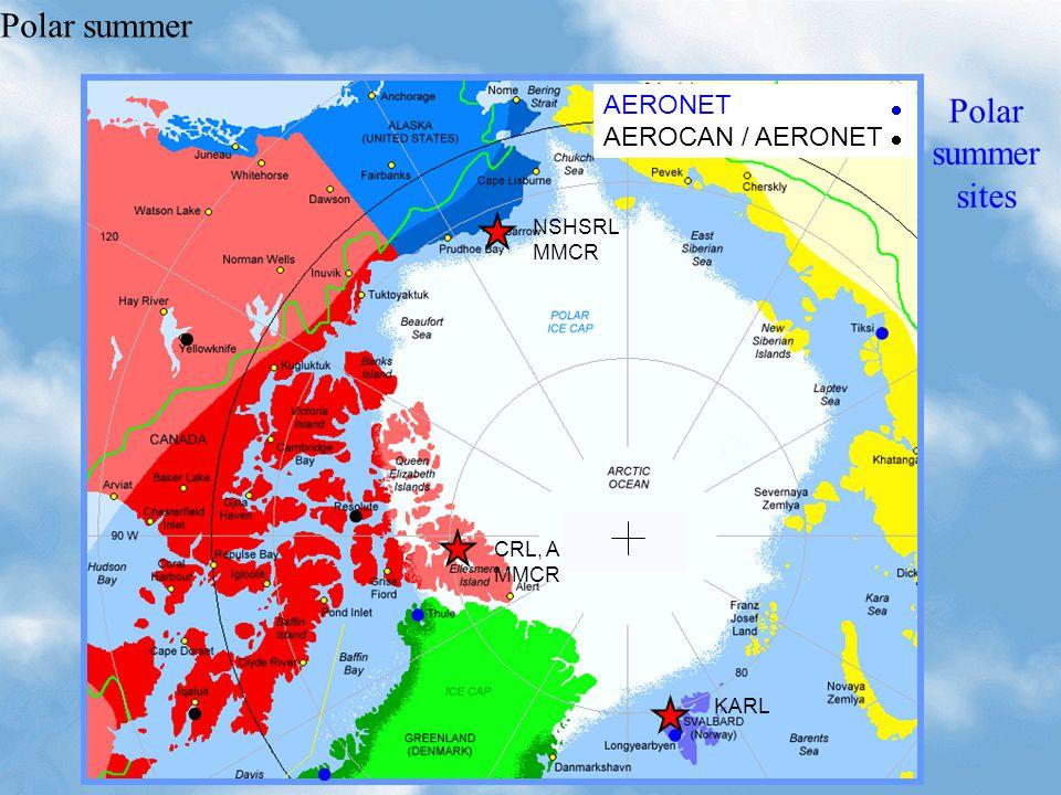    NSHSRL MMCR CRL, AMS MMCR KARL Polar summer sites AERONET AEROCAN / AERONET Polar summer         