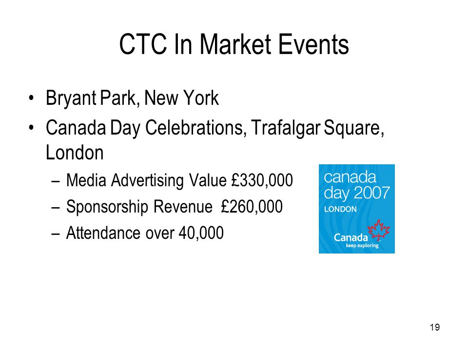 19 CTC In Market Events Bryant Park, New York Canada Day Celebrations, Trafalgar Square, London –Media Advertising Value £330,000 –Sponsorship Revenue