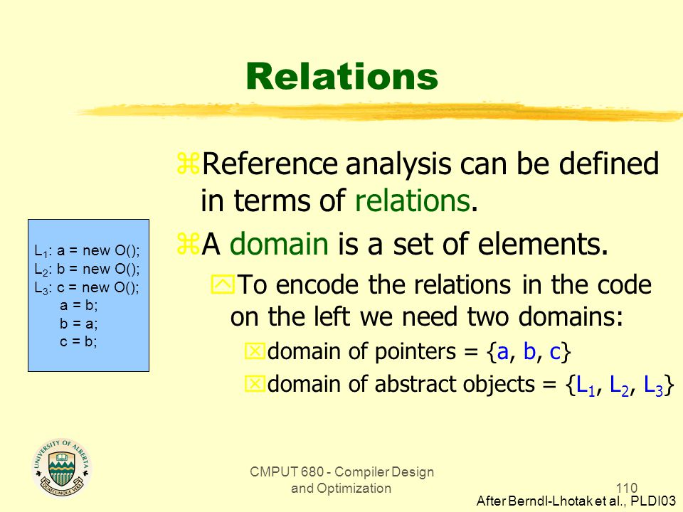 CMPUT 680 - Compiler Design and Optimization110 Relations zReference analysis can be defined in terms of relations. zA domain is a set of elements. yT