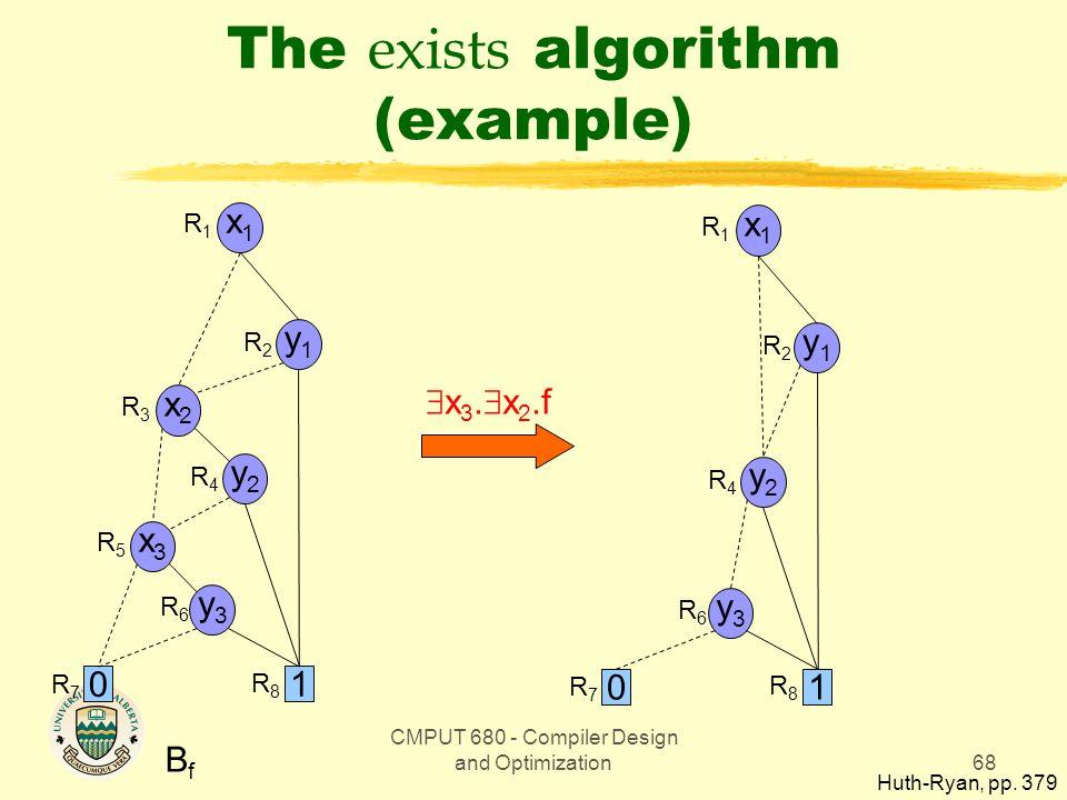 CMPUT 680 - Compiler Design and Optimization68 The exists algorithm (example) BfBf x1x1 y1y1 y2y2 x2x2 x3x3 0 1 y3y3 R1R1 R2R2 R3R3 R4R4 R5R5 R6R6 R7R7 R8R8 x1x1 y1y1 y2y2 0 1 y3y3 R1R1 R2R2 R4R4 R6R6 R7R7 R8R8  x 3.