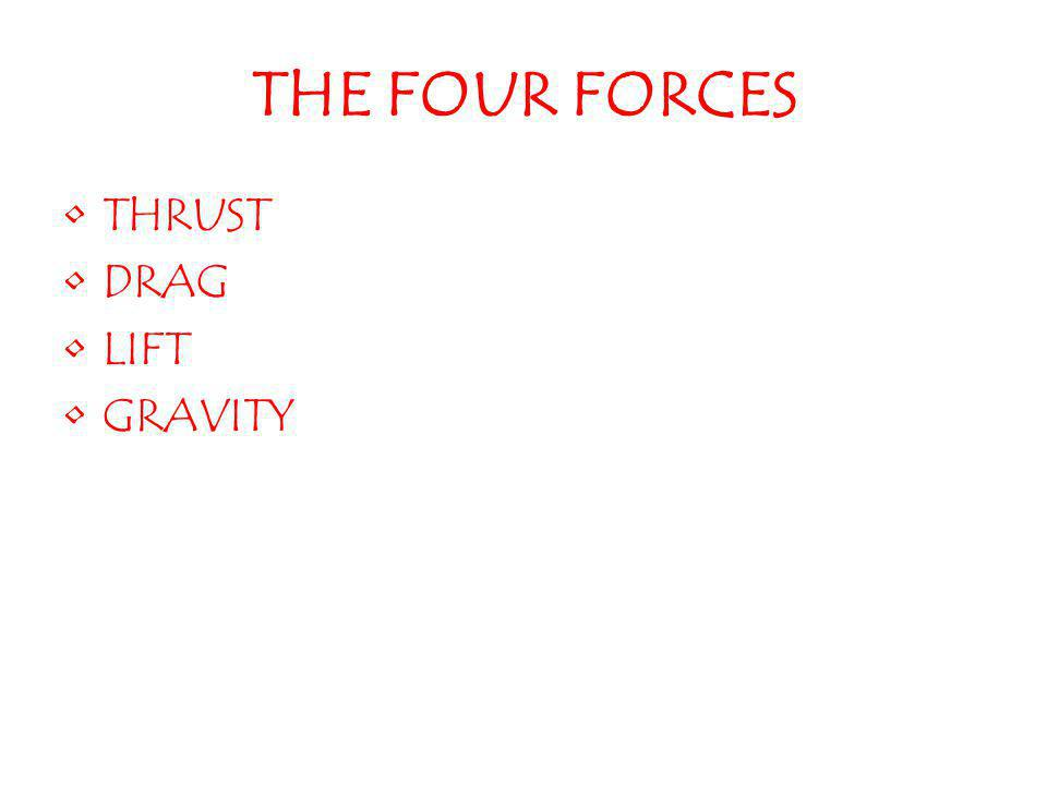 THE FOUR FORCES THRUST DRAG LIFT GRAVITY
