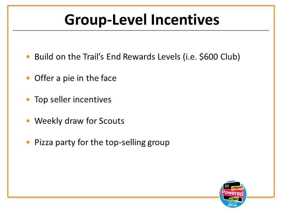 Group-Level Incentives Build on the Trail's End Rewards Levels (i.e.