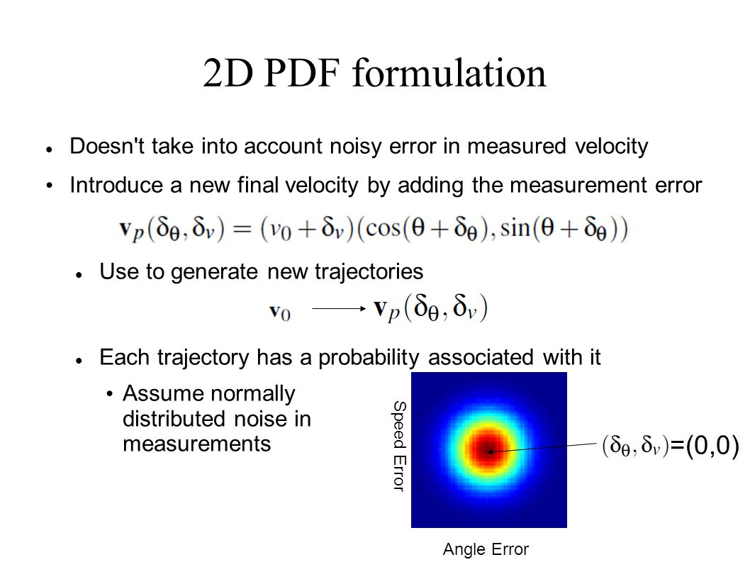 2D PDF formulation Doesn t take into account noisy error in measured velocity Introduce a new final velocity by adding the measurement error Use to generate new trajectories Each trajectory has a probability associated with it Assume normally distributed noise in measurements Angle Error Speed Error =(0,0)