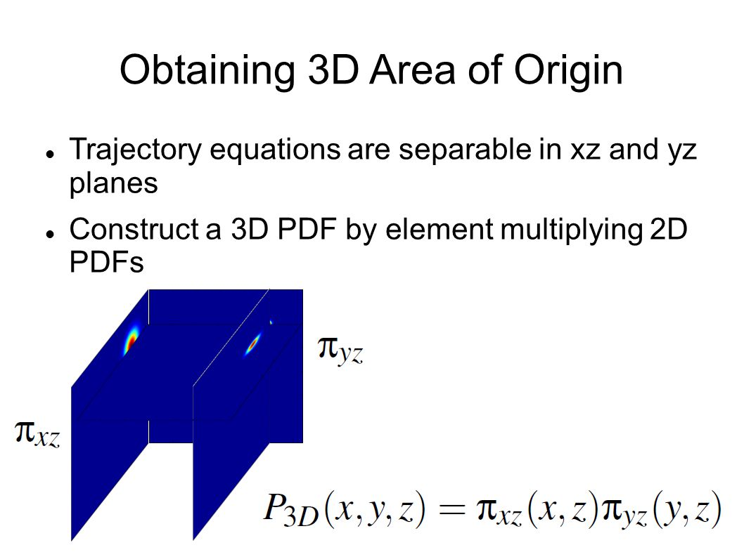 Obtaining 3D Area of Origin Trajectory equations are separable in xz and yz planes Construct a 3D PDF by element multiplying 2D PDFs
