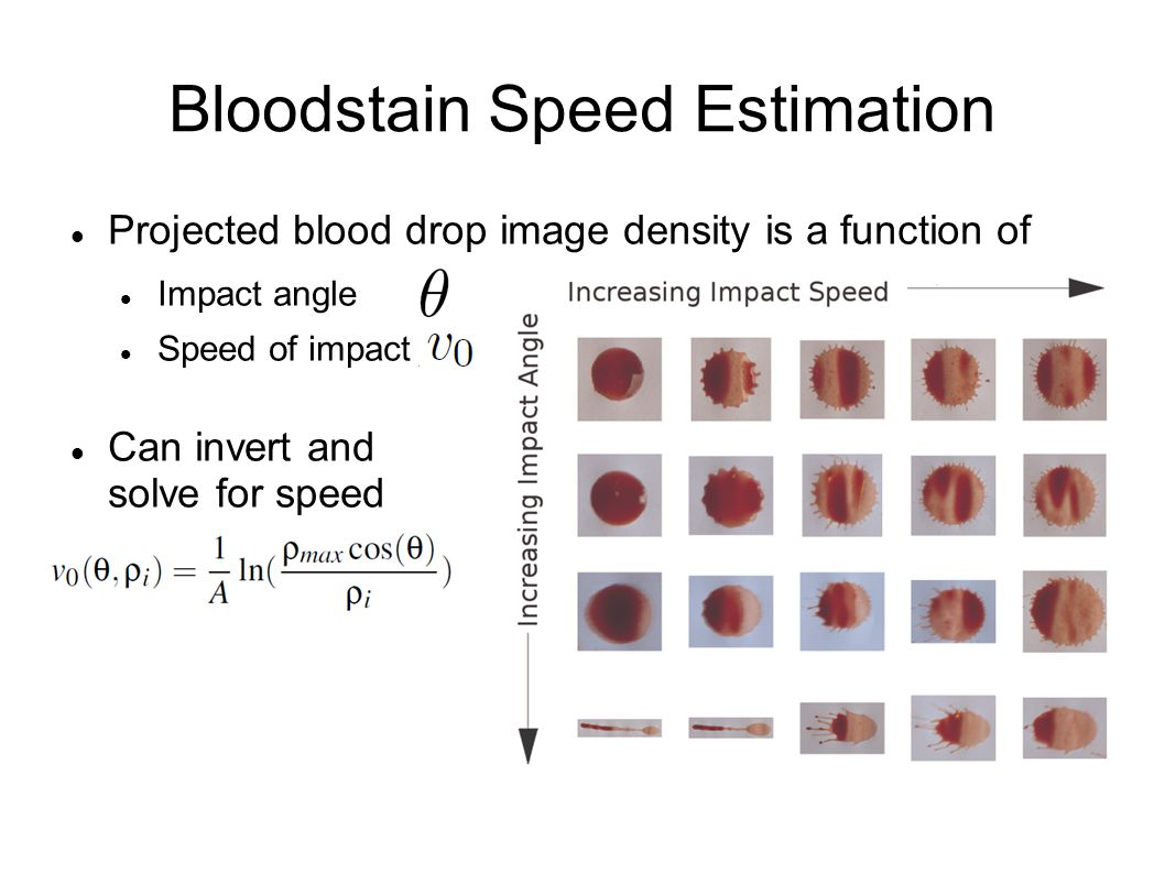 Bloodstain Speed Estimation Projected blood drop image density is a function of Impact angle Speed of impact Can invert and solve for speed