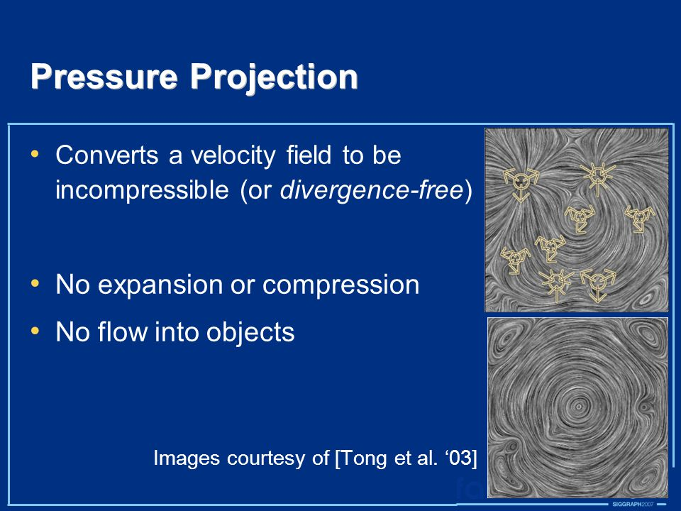 Pressure Projection Converts a velocity field to be incompressible (or divergence-free) No expansion or compression No flow into objects Images courtesy of [Tong et al.