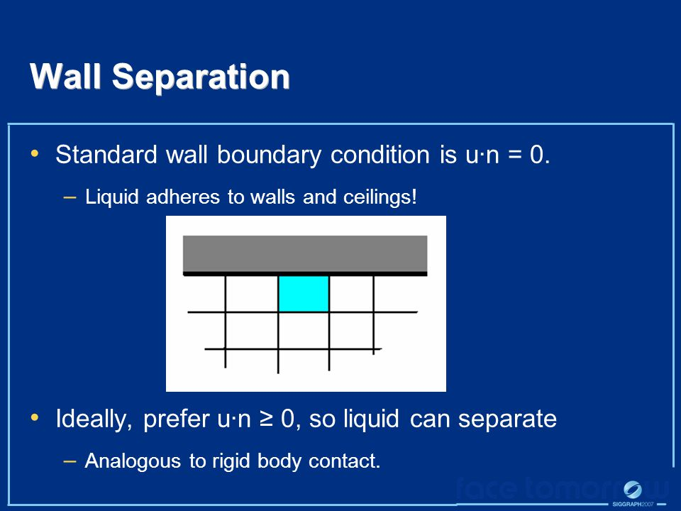 Wall Separation Standard wall boundary condition is u·n = 0.