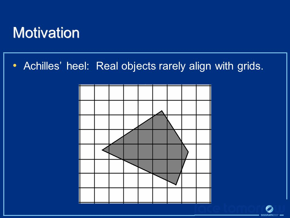 Motivation Achilles' heel: Real objects rarely align with grids.