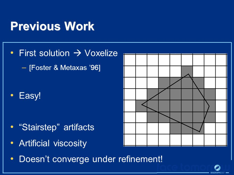 Previous Work First solution  Voxelize – [Foster & Metaxas '96] Easy.