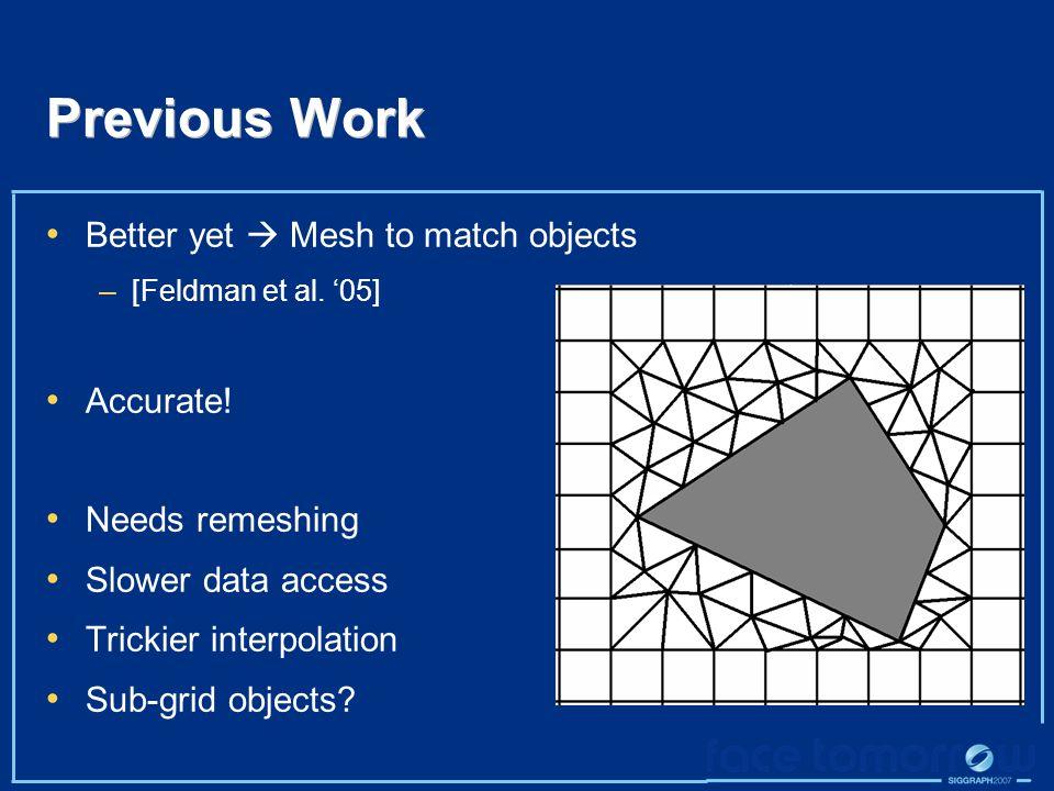 Previous Work Better yet  Mesh to match objects – [Feldman et al.