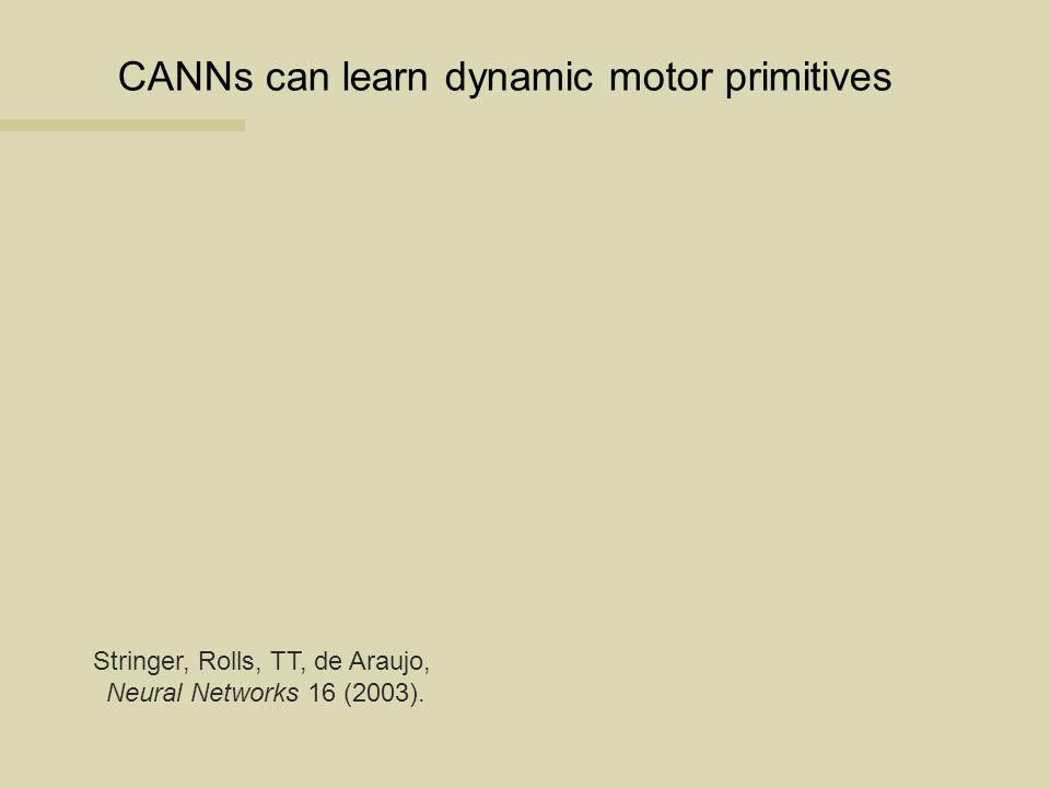 CANNs can learn dynamic motor primitives Stringer, Rolls, TT, de Araujo, Neural Networks 16 (2003).