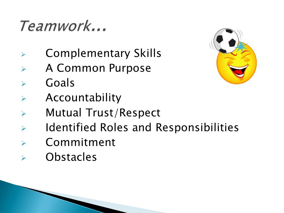  Complementary Skills  A Common Purpose  Goals  Accountability  Mutual Trust/Respect  Identified Roles and Responsibilities  Commitment  Obsta
