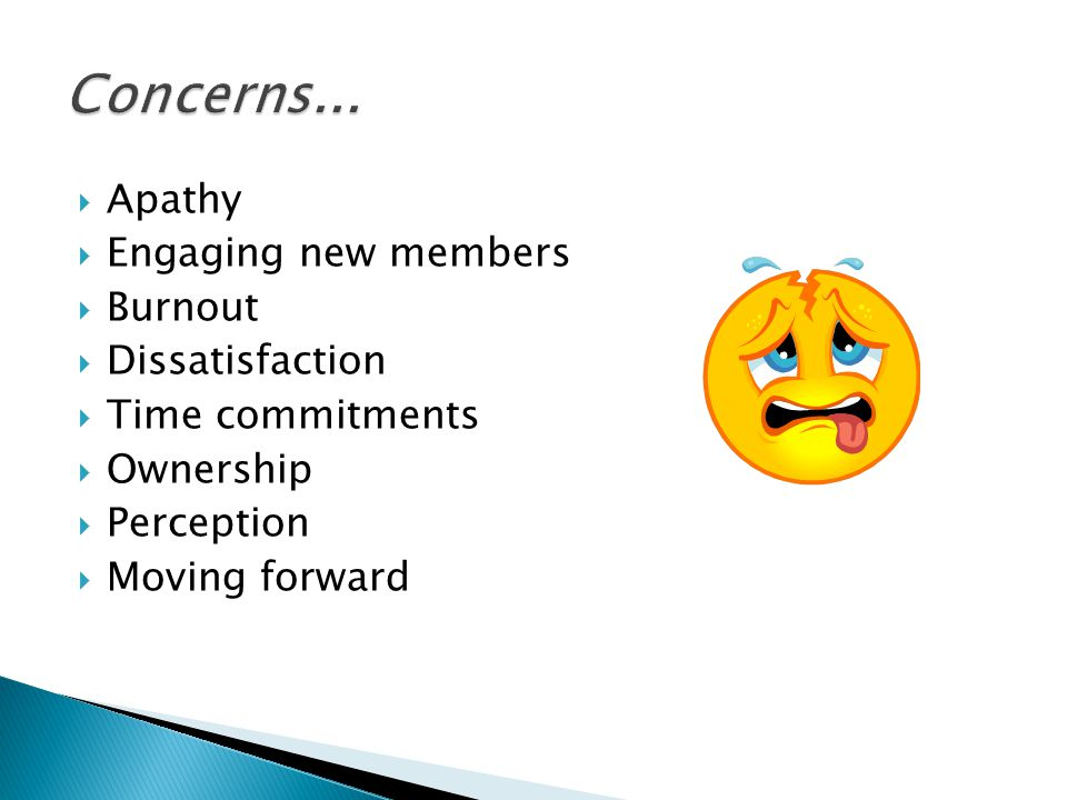  Apathy  Engaging new members  Burnout  Dissatisfaction  Time commitments  Ownership  Perception  Moving forward