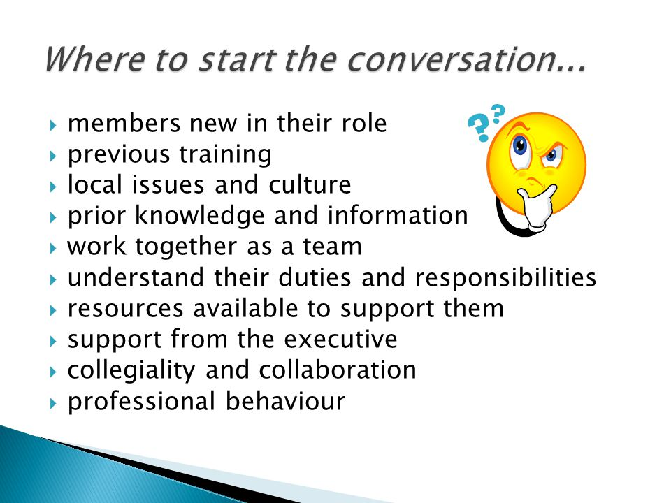  members new in their role  previous training  local issues and culture  prior knowledge and information  work together as a team  understand th