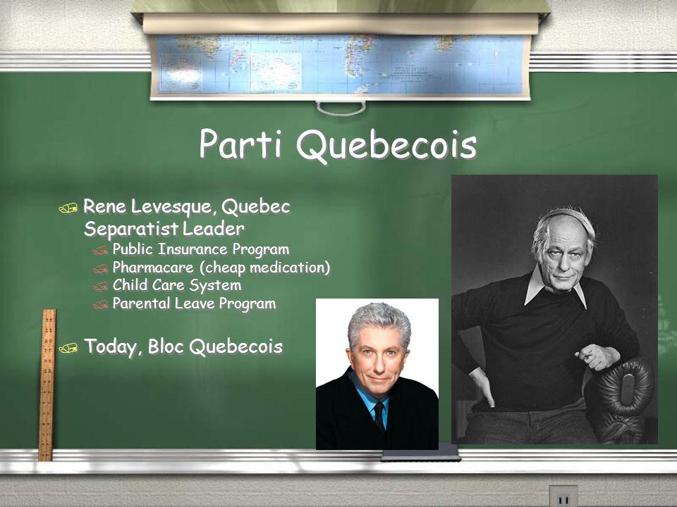 Parti Quebecois / Rene Levesque, Quebec Separatist Leader / Public Insurance Program / Pharmacare (cheap medication) / Child Care System / Parental Le