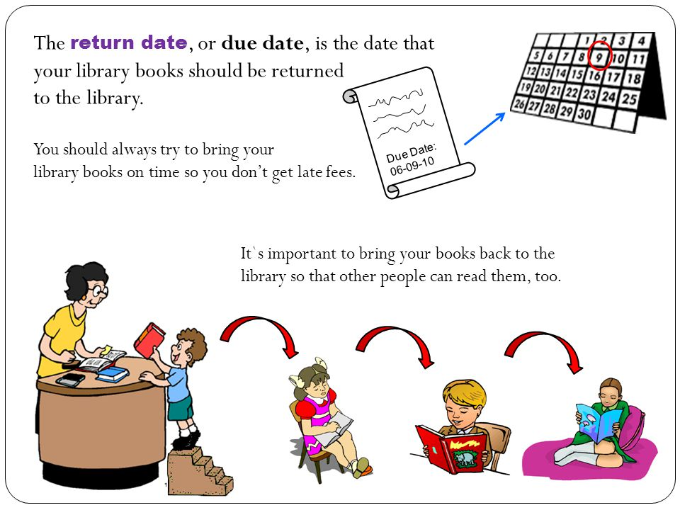 The return date, or due date, is the date that your library books should be returned to the library.