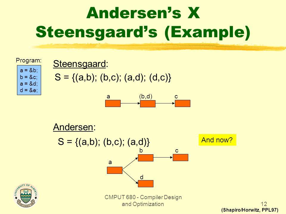 CMPUT 680 - Compiler Design and Optimization12 Andersen's X Steensgaard's (Example) a = &b; b = &c; a = &d; d = &e; Program: Steensgaard: Andersen: S = {(a,b); (b,c); (a,d); (d,c)} S = {(a,b); (b,c); (a,d)} c a b d c (b,d) a (Shapiro/Horwitz, PPL97) And now