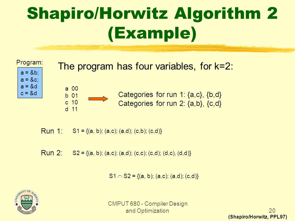 CMPUT 680 - Compiler Design and Optimization20 Shapiro/Horwitz Algorithm 2 (Example) (Shapiro/Horwitz, PPL97) a = &b; a = &c; a = &d c = &d Program: The program has four variables, for k=2: a 00 b 01 c 10 d 11 Categories for run 1: {a,c}, {b,d} Categories for run 2: {a,b}, {c,d} S1 = {(a, b); (a,c); (a,d); (c,b); (c,d)} Run 1: S1  S2 = {(a, b); (a,c); (a,d); (c,d)} Run 2: S2 = {(a, b); (a,c); (a,d); (c,c); (c,d); (d,c), (d,d)}