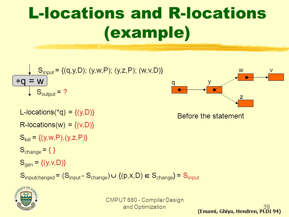 CMPUT 680 - Compiler Design and Optimization39 L-locations and R-locations (example)  q = w S input = {(q,y,D); (y,w,P); (y,z,P); (w,v,D)} S output =
