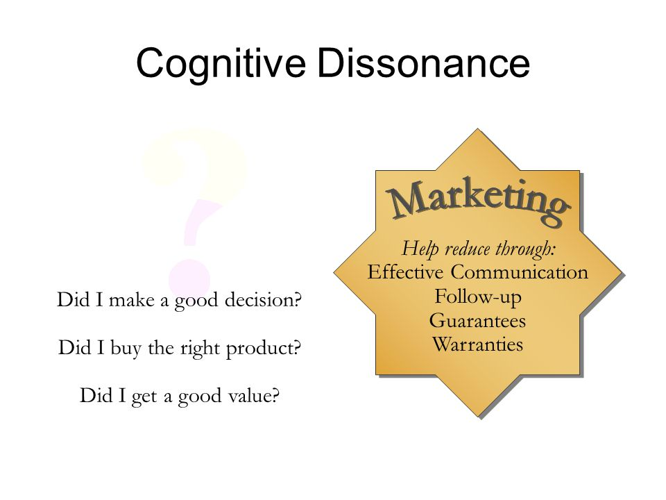 Cognitive Dissonance Help reduce through: Effective Communication Follow-up Guarantees Warranties Did I make a good decision? Did I buy the right prod